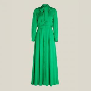 LAYEUR Green Whittle Tie-Neck Button Down Maxi Dress FR 40