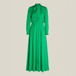 """فستان ليور """"ويتل"""" بربطة عنق وأزرار بطول ماكسي أخضر FR 40"""