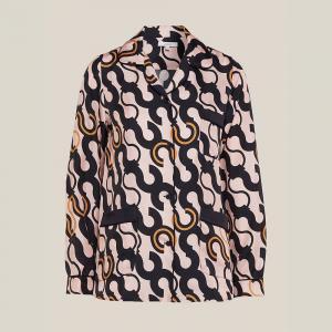 LAYEUR Pink Fitzgerald Printed Silk Pyjama Top FR 46