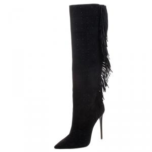 Le Silla Black Fringed Suede Tiny Velour Knee Length Boots Size 38.5