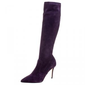 Le Silla Purple Stretch Velour Knee High Pointed Toe Boots Size 38.5