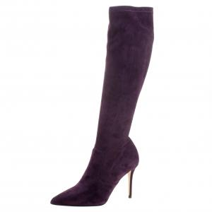Le Silla Purple Stretch Velour Knee High Pointed Toe Boots Size 37.5