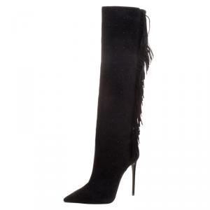 Le Silla Black Fringed Suede Tiny Velour Knee Length Boots Size 39