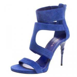 Le Silla Blue Suede Spiral Heel Strappy Sandals Size 38.5