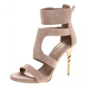 Le Silla Beige Suede Spiral Heel Strappy Sandals Size 37