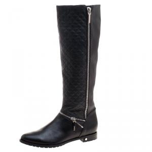 Le Silla Black Quilted Leather Zip Detail Biker Boots Size 41