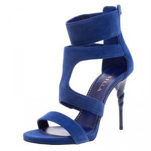 Le Silla Blue Suede Spiral Heel Strappy Sandals Size 37