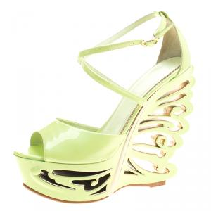Le Silla Pistachio Green Patent Leather Butterfly Wedge Sandals Size 38