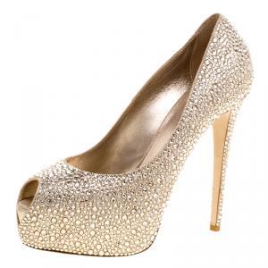 Le Silla Metallic Beige Crystal Embellished Leather Peep Toe Platform Pumps Size 38