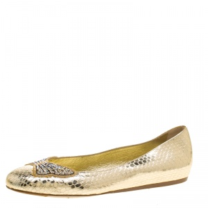 Le Silla Metallic Gold Snake Embossed Leather Butterfly Crystal Embellished Motif Ballet Flats Size 36