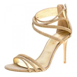 Le Silla Metallic Gold Lamé Glitter Fabric Galaxy Sandals Size 38