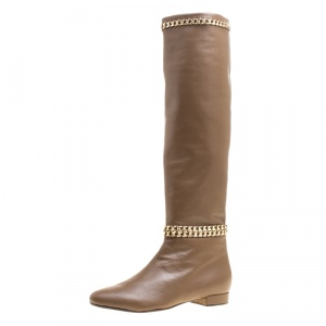 Le Silla Dark Beige Leather Chain Detail Knee High Boots Size 40