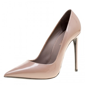 Le Silla Beige Patent Leather Eva Pointed Toe Pumps Size 38