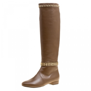 Le Silla Brown Leather Chain Detail Knee High Boots Size 38.5