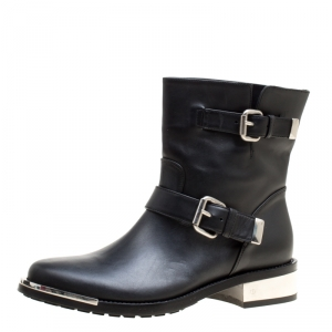 Le Silla Black Leather Buckle Detail Ankle Boots Size 40