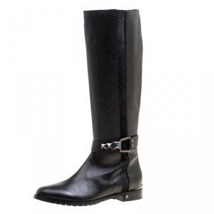 Le Silla Black Leather And Pony Hair Trim Knee High Boots Size 38