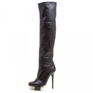 Enio Silla for Le Silla Black Leather Platform Knee Boots Size 40