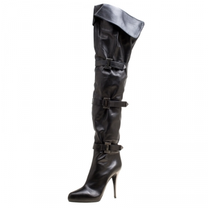 Le Silla Black Leather Mid Thigh Boots Size 41