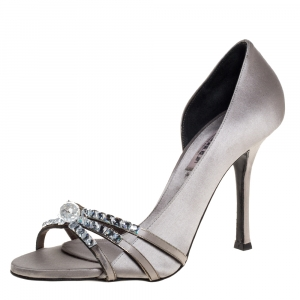 Le Silla Grey Satin Crystal Embellished Strappy Sandals Size 38 -