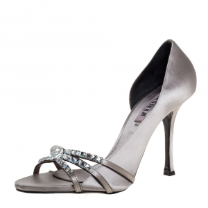 Le Silla Grey Satin Crystal Embellished Strappy Sandals Size 38.5 -