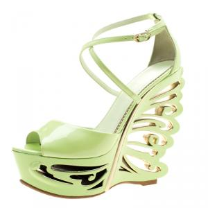 Le Silla Pistachio Green Patent Leather Butterfly Wedge Sandals Size 38.5