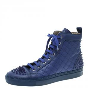 Le Silla Blue Quilted Leather Spike High Top Sneakers Size 37.5