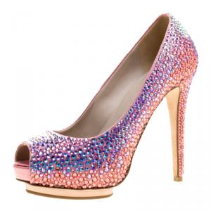 Le Silla Pink Satin and Crystal Embellishment Limited Edition Peep Toe Pumps Size 36