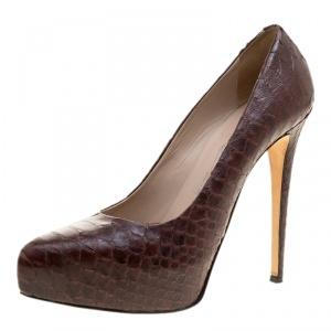 Enio Silla for Le Silla Bordeaux Python Leather Platform Pumps Size 38.5