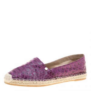 Le Silla Purple Python Leather Flat Espadrille Loafers Size 40