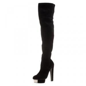 Enio Silla for Le Silla Black Suede Platform Knee Boots Size 38