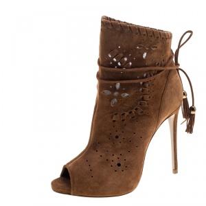 Le Silla Tan Suede Laser Cut Peep Toe Ankle Boots Size 36