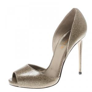 Le Silla Gold Glitter Leather Peep Toe Sandals Size 38