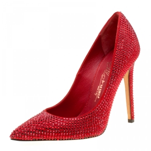 Le Silla Red Suede Crystal Embellished Pointed Toe Pumps Size 36