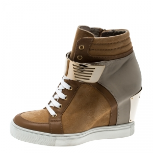 Le Silla Brown/Grey Leather In Chipow High Top Wedge Sneakers Size 37