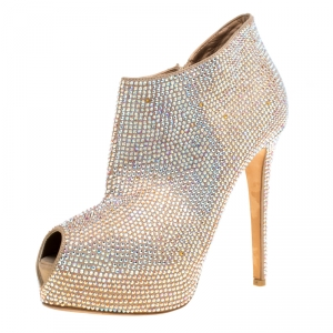 Enio Silla For Le Silla Beige Crystal Embellished Leather Peep Toe Platform Booties Size 38.5