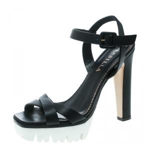 Le Silla Black Leather Cross Strap Platform Sandals Size 37.5
