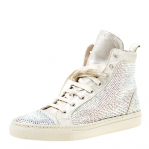 Le Silla Light Grey Suede Crystal Embellished High Top Sneakers Size 38