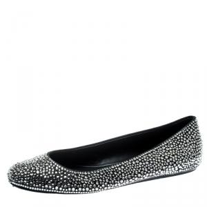 Le Silla Black Suede Crystal Embellished Ballet Flats Size 41