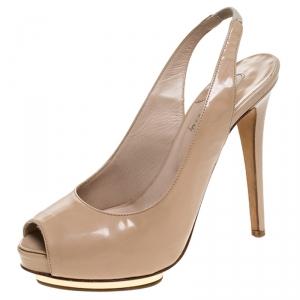 Le Silla Beige Leather Slingback Peep Toe Platform Sandals Size 36.5 - used