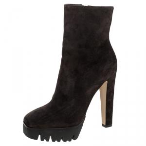 Le Silla Brown Suede Mid Calf Square Toe Platform Boots Size 38.5