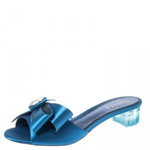 Le Silla Blue Satin Crystal Embellished Bow Slip On Sandals Size 40