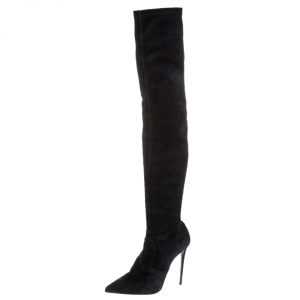 Le Silla Black Suede Over The Knee Pointed Toe Boots Size 40