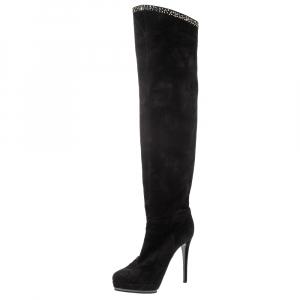 Le Silla Black Nubuck Crystal Embellished Platform Knee High Boots Size 38 - used
