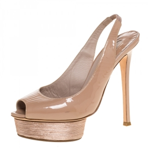 Le Silla Beige Patent Slingback Peep Toe Platform Sandals Size 38.5