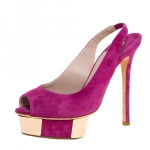 Le Silla Magenta Suede Slingback Peep Toe Platform Sandals Size 38.5