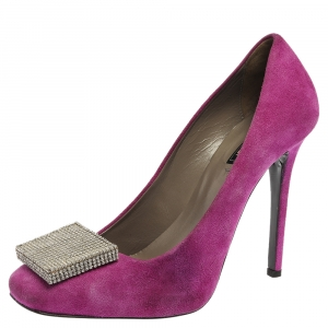 Le Silla Purple Suede Embellished Square Toe Pumps Size 37