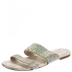 Le Silla Gray Leather Crystal Embellished Flat Size 38