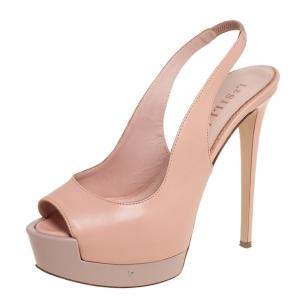 Le Silla Beige Leather Peep Toe Platform Slingback Sandals Size 39 - used
