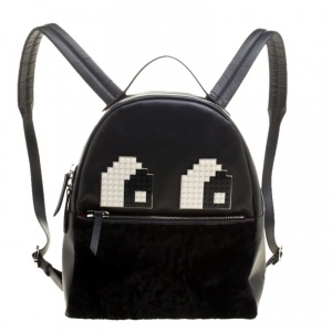 Les Petits Joueurs Black Leather and Fur Mick Eyes Backpack