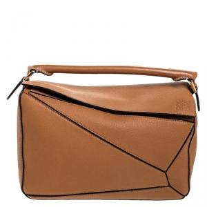 Loewe Tan Leather Medium Puzzle Shoulder Bag